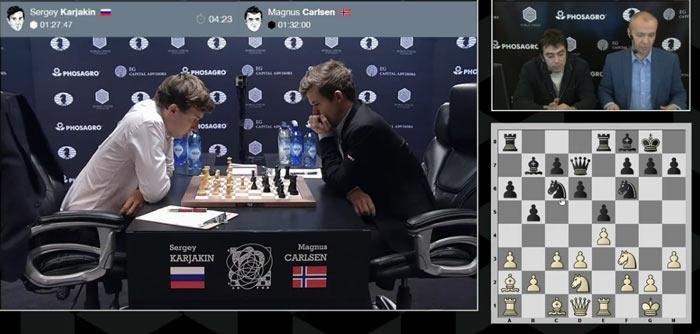 Карякин задумался над 13 ходом. Компьютер советует ход d4
