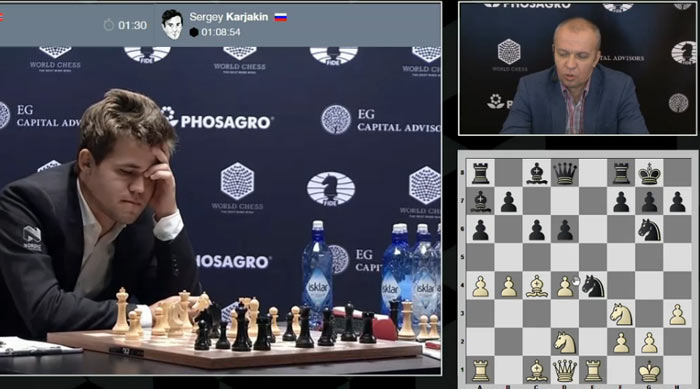 Шипов предположил, что Карслен не ожидал от Карякина 13...Nxe4, поэтому призадумался.