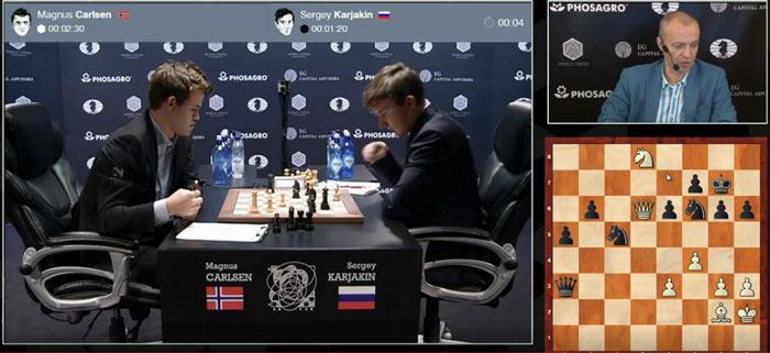 Увы и ах... Вместо 37... Qa4 (-1.87) Карякин сходил 37... Qd3 (0.00), зевая элементарную тактику 38. Nxe6+ А все цейтнот, в который Сергей сам себя загнал