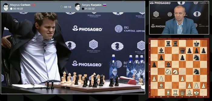 Партия 8 Карлсен - Карякин. У Магнуса нет идей, приходиться расправлять крылья