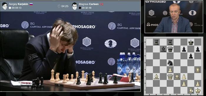В партии 9, после 30 хода возникли определенные осложнения - Карякин задумался над 31 ход, благо времени достаточно. Компьютер предлагает ход Rh5 с нападением на коня на d5