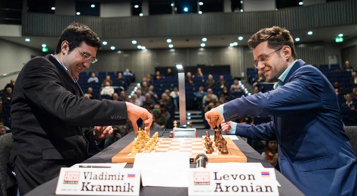 Владимир Крамник и Левон Аронян в приподнятом настроении