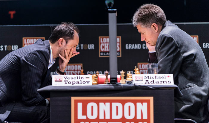 London Chess Classic 2016 5 тур. Веселин Топалов (Болгария) и Майкл Адамс (Англия)