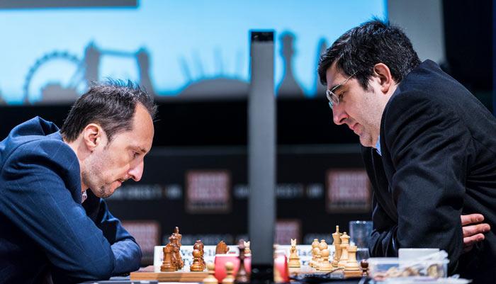 Веселин Топалов и Владимир Крамник - первый тур London Chess Classic 2016