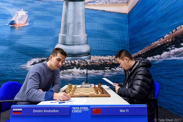 Шахматный турнир в Вейк-ан-Зее 2017 Дмитрий Андрейкин и Вей Ю