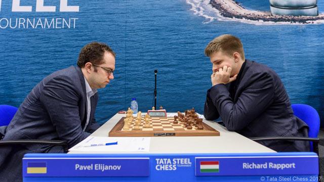 Павел Эльянов и Ричард Раппорт на шахматном турнире Вейк-ан-Зее 2017