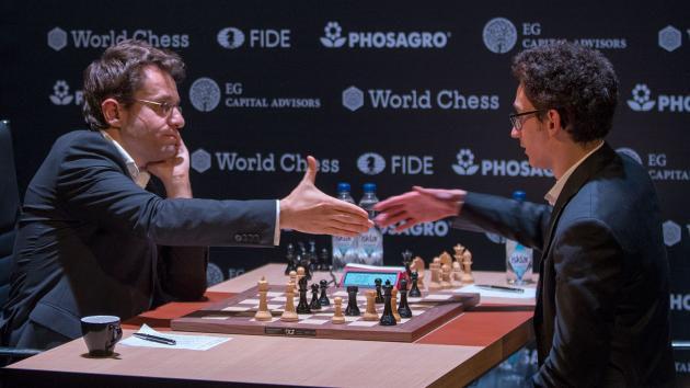 Левон Аронян и Фабиано Каруана - турнир претендентов по шахматам 2018