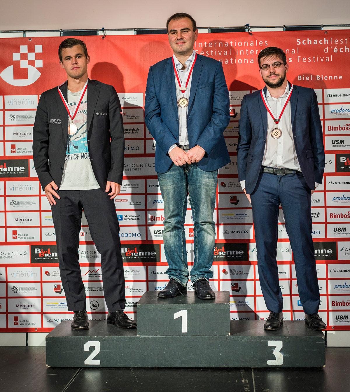 Тройка призеров Biel Chess Festival 2018