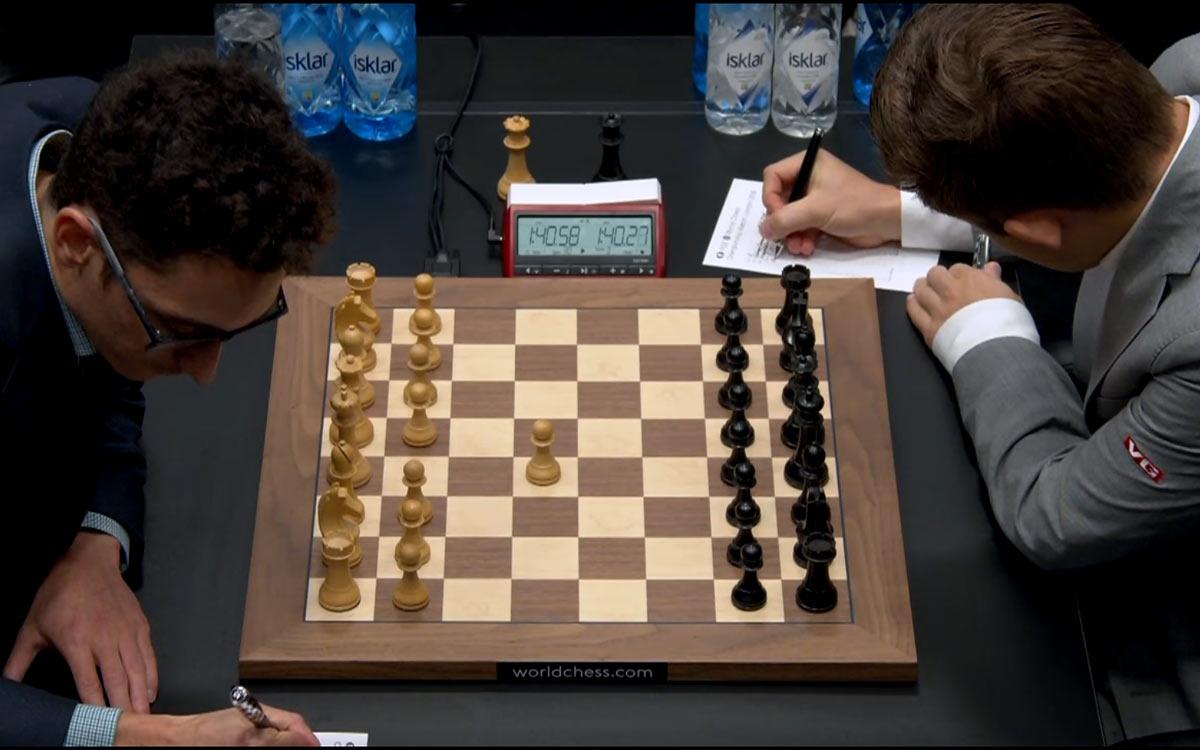 Матч за мировое первенство Карлсен - Каруана 2018. Партия 8