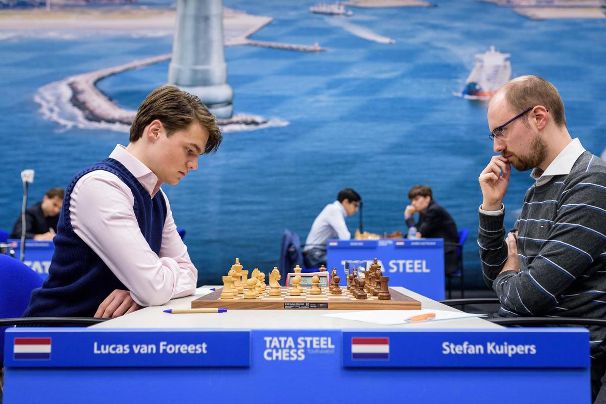 Лукас Ван Форест и Стефан Куиперс. Шахматный турнир Tata Steel Challengers 2019