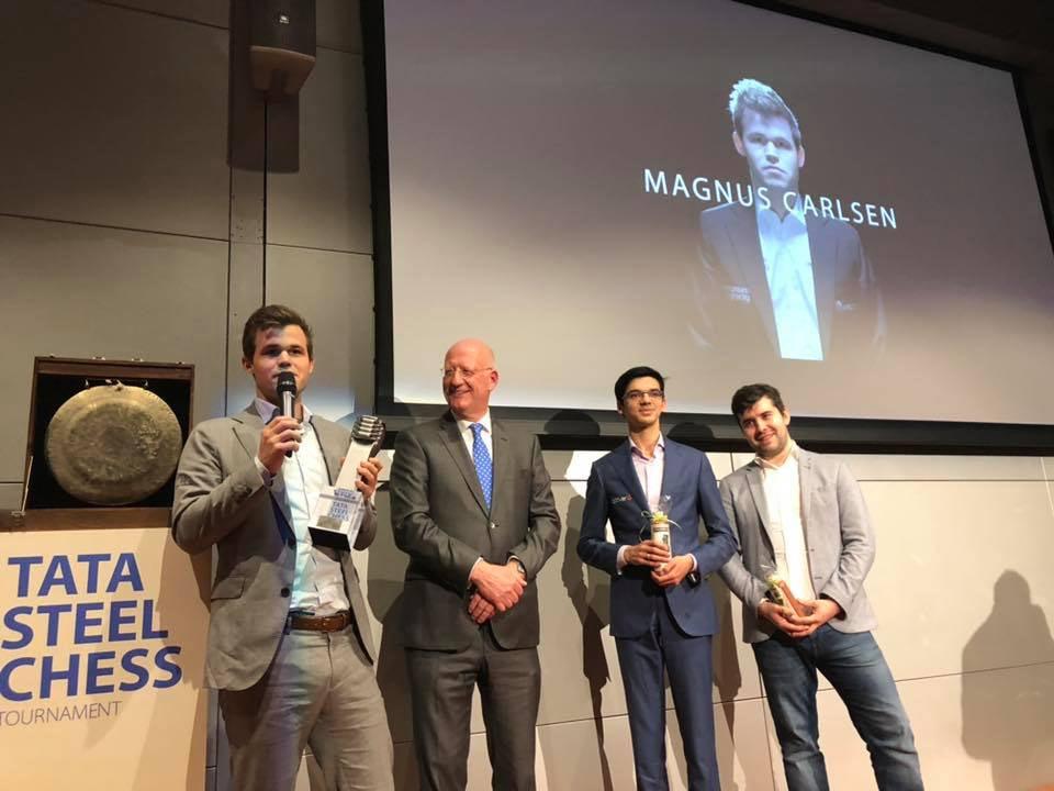 Призеры Tata Steel Masters 2019: Магнус Карлсен (Норвегия), Аниш Гири (Нидерланды), Ян Непомнящий (Россия)