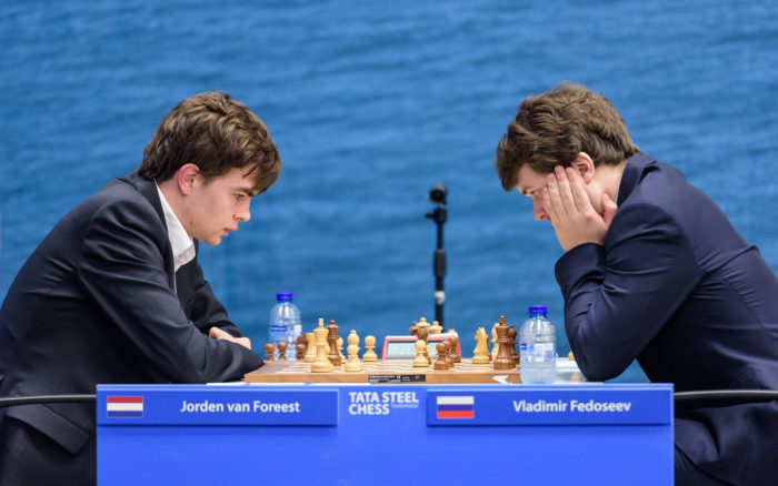 Йорден ван Форест и Владимир Федосеев. Шахматный турнир Tata Steel Masters 2019