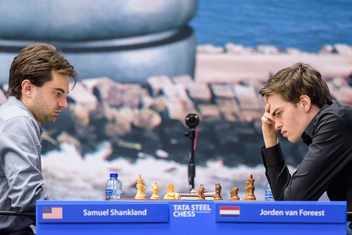 Сэмюэль Шенкленд (Samuel Shankland) и Йорден ван Форест (Jorden van Foreest). Tata Steel Chess 2019