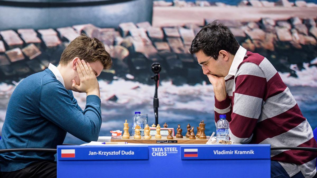 Ян-Кшиштоф Дуда и Владимир Крамник Tata Steel Chess 2019 (Вейк-ан-Зее)