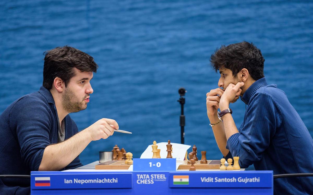 Ян Непомнящий и Сантош Гуджрати Видит. Tata Steel Chess 2019 (Вейк-ан-Зее)