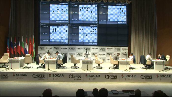 Shamkir Chess 2019 (Мемориал Гашимова). Вид на сцену из зрительного зала