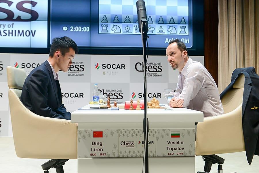 Дин Лижэнь и Веселин Топалов. Шахматный турнир Shamkir Chess 2019