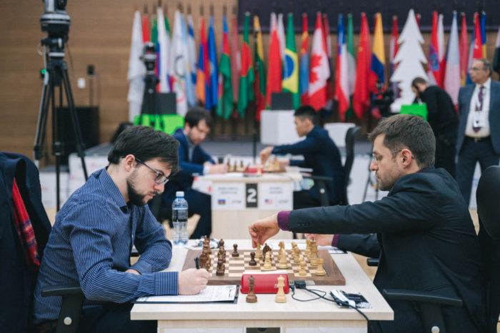 Максим Вашье-Лаграв (Франция) и Левон Аронян (Армения). Ханты-Мансийск, 2019