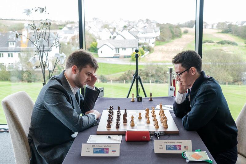 Владимир Федосеев и Фабиано Каруана (шахматный турнир остров Мэн 2019)