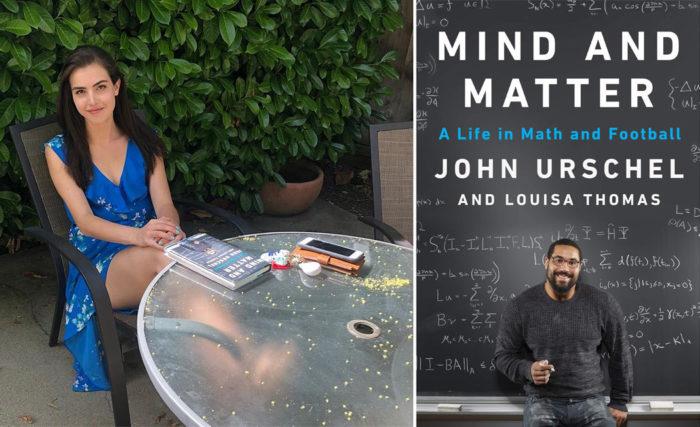 Александра Ботез с книгой Джона Уршеля «Разум и материя: жизнь в математике и футболе»