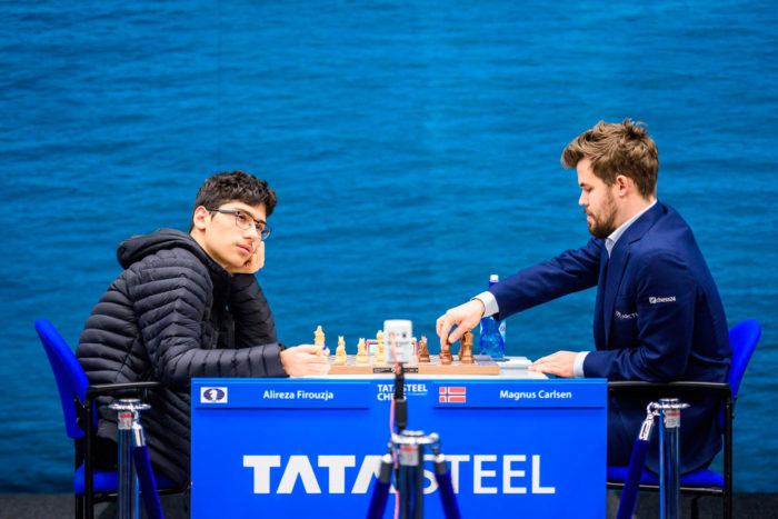 Алиреза Фируджа и Магнус Карлсен на турнире Tata Steel Masters 2020 (Вейк-ан-Зее)