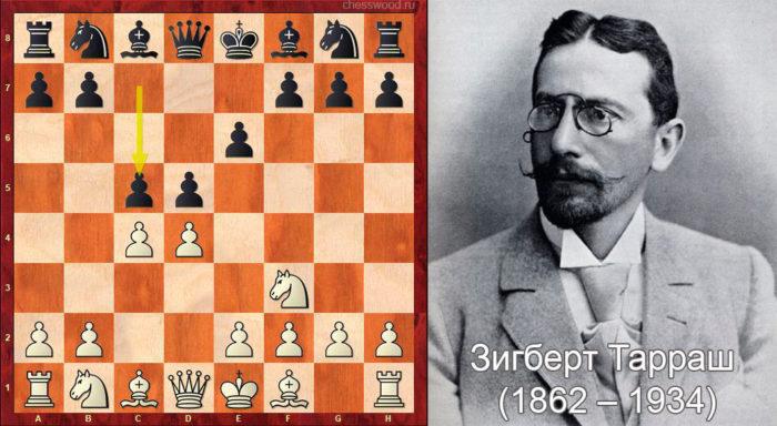Защита Тарраша в ферзевом гамбите начинается ходами 1. d4 d5 2. c4 e6 3. Nc3 c5