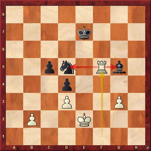 Двойной удар ладьёй в шахматах. Белая ладья напала одновременно на две лёгкие фигуры чёрных