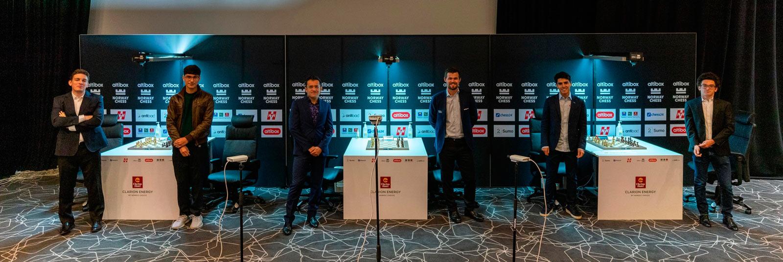 Участники шахматного турнира Altibox Norway Chess 2020 (Ставангер, Норвегия)