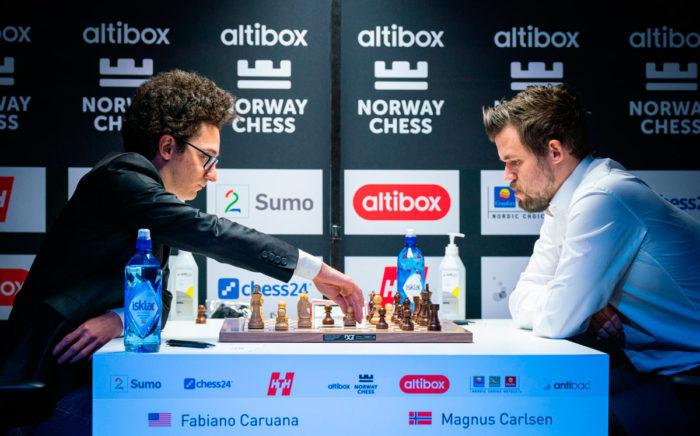 Фабиано Каруана и Магнус Карлсен. Шахматный турнир Ставангер 2020
