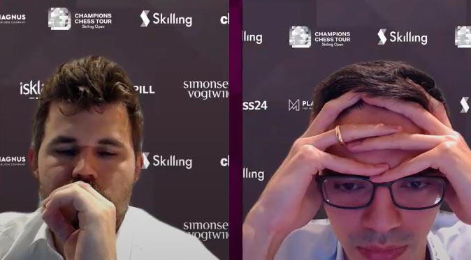Фрагмент онлайн-трансляции Skilling Open 2020: Магнус Карлсен и Аниш Гири