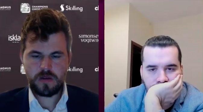 Фрагмент онлайн-трансляции Skilling Open 2020: Магнус Карлсен и Ян Непомнящий