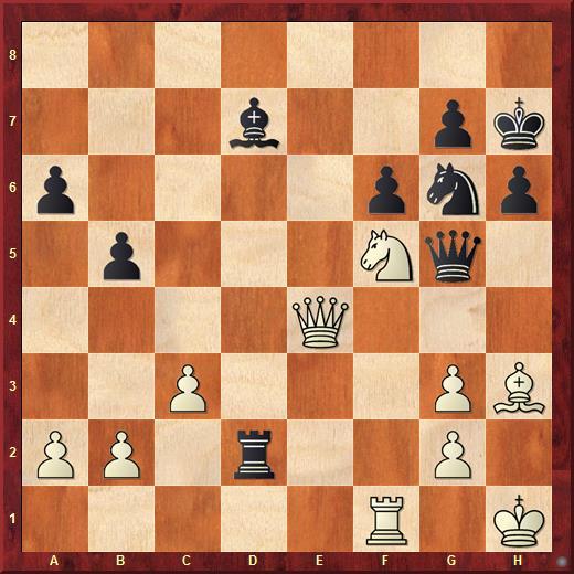 Шахматная диаграмма. Ход черных у которых явный перевес. Следовало взять ладьей пешку на b2 (40...Rxb2), вместо это Гранделиус сходил королем на h8 (40...Kh8)