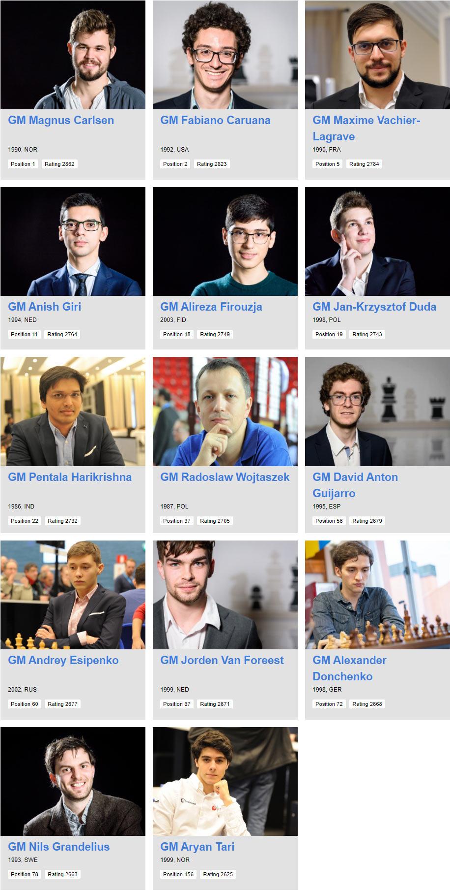 Участники шахматного турнира Tata Steel Masters 2021 (Вейк-ан-Зее)