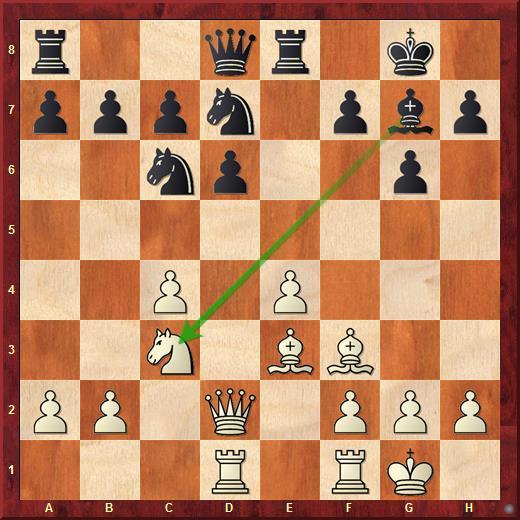 В этой позиции Каруана решил отдать своего чернопольного слона за коня с3!