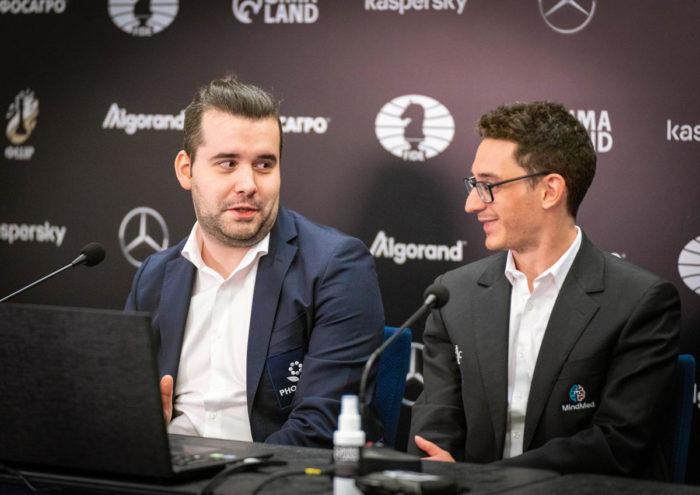 Ян Непомнящий и Фибиано Каруана - турнир претендентов по шахматам 2020-2021 в Екатеринбурге