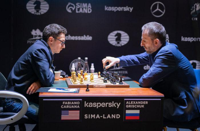 Фабиано Каруана и Александр Грищук. Турнир претендентов по шахматам 2020-2021 (тур 14)