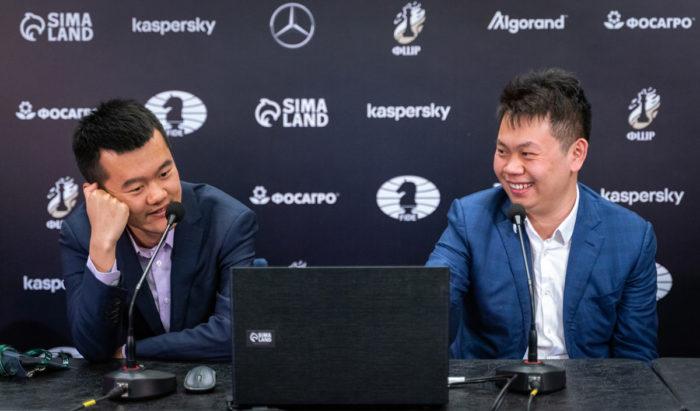 Китайские шахматисты Дин Лижэнь и Ван Хао