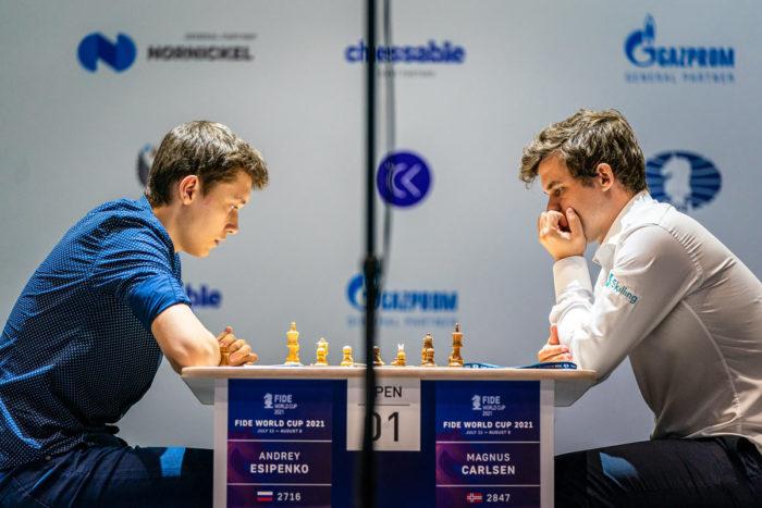 Андрей Есипенко и Магнус Карлсен (Кубок мира по шахматам 2021, Сочи)