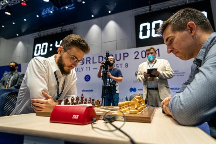 Велимир Ивич и Дмитрий Андрейкин на Кубке мира 2021 по шахматам в Сочи