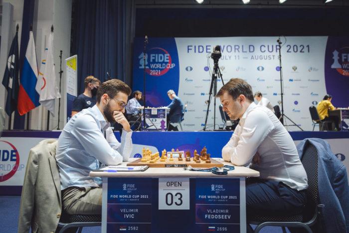 Велимир Ивич (Сербия) и Владимир Федосеев (Россия). Кубок мира по шахматам 2021, Сочи