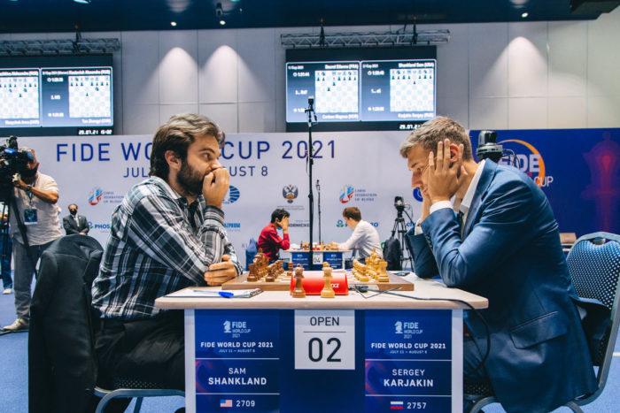 Сэм Шенкленд и Сергей Карякин. Кубок мира по шахматам 2021 в Сочи