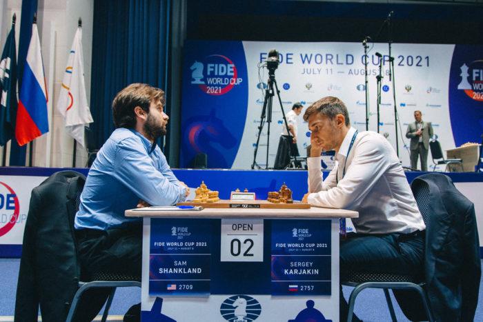 Сэм Шенкленд и Сергей Карякин на Кубке мира 2021 в Сочи