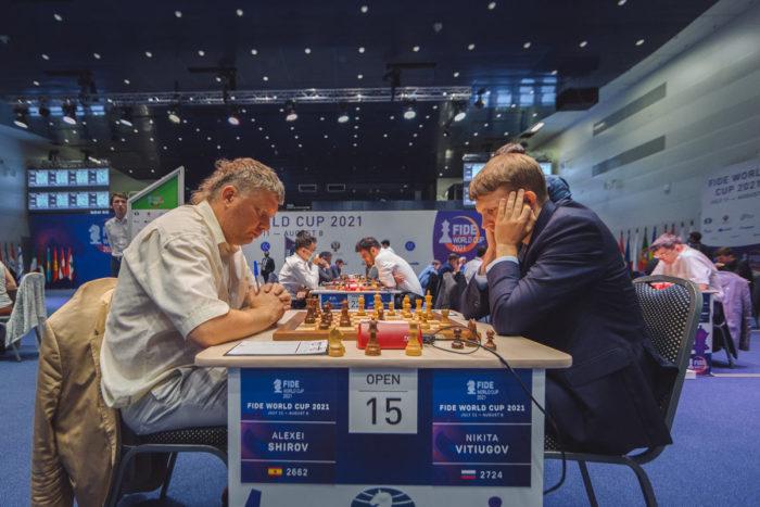 Алексей Широв (Испания) и Никита Витюгов (Россия). Кубок мира 2021 по шахматам