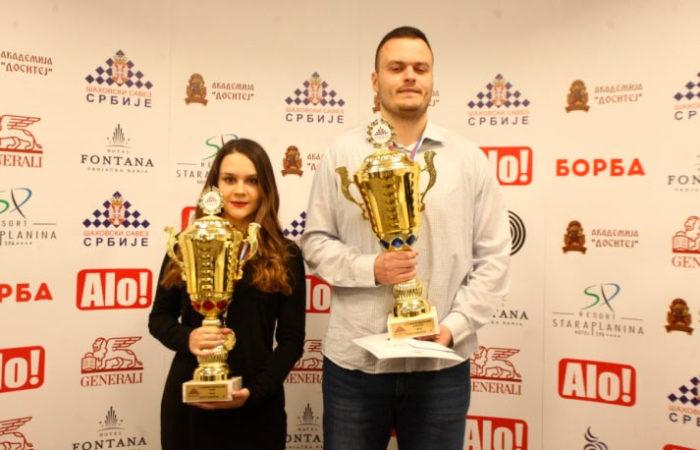 Теодора Иньяц и Александар Инджич - победители 14-го чемпионата Сербии по шахматам