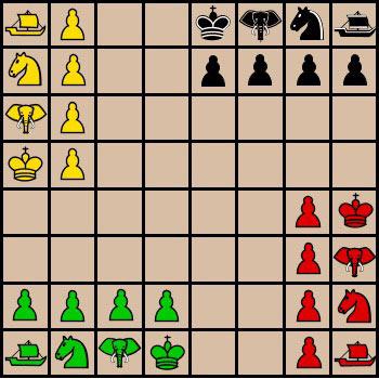 В чатуранге для четырех игроков (чатураджи), использовались комплекты фигур четырех цветов: желтые, черные, красные и зеленые