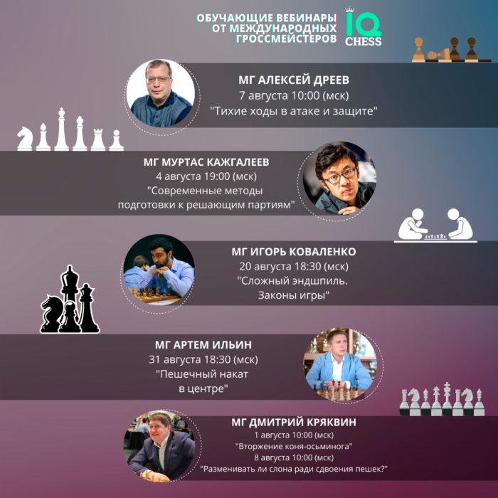 Обучающие вебинары по шахматам с гроссмейстерами онлайн - август 2021