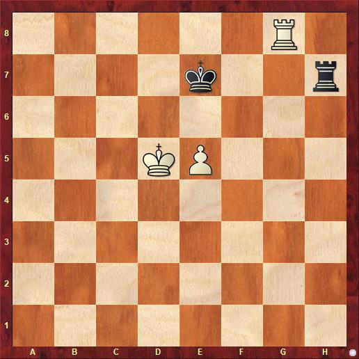 У белых лишняя пешка, выгодное положение короля, активная ладья, но позиция ничейна как при ходе белых, так и при ходе черных